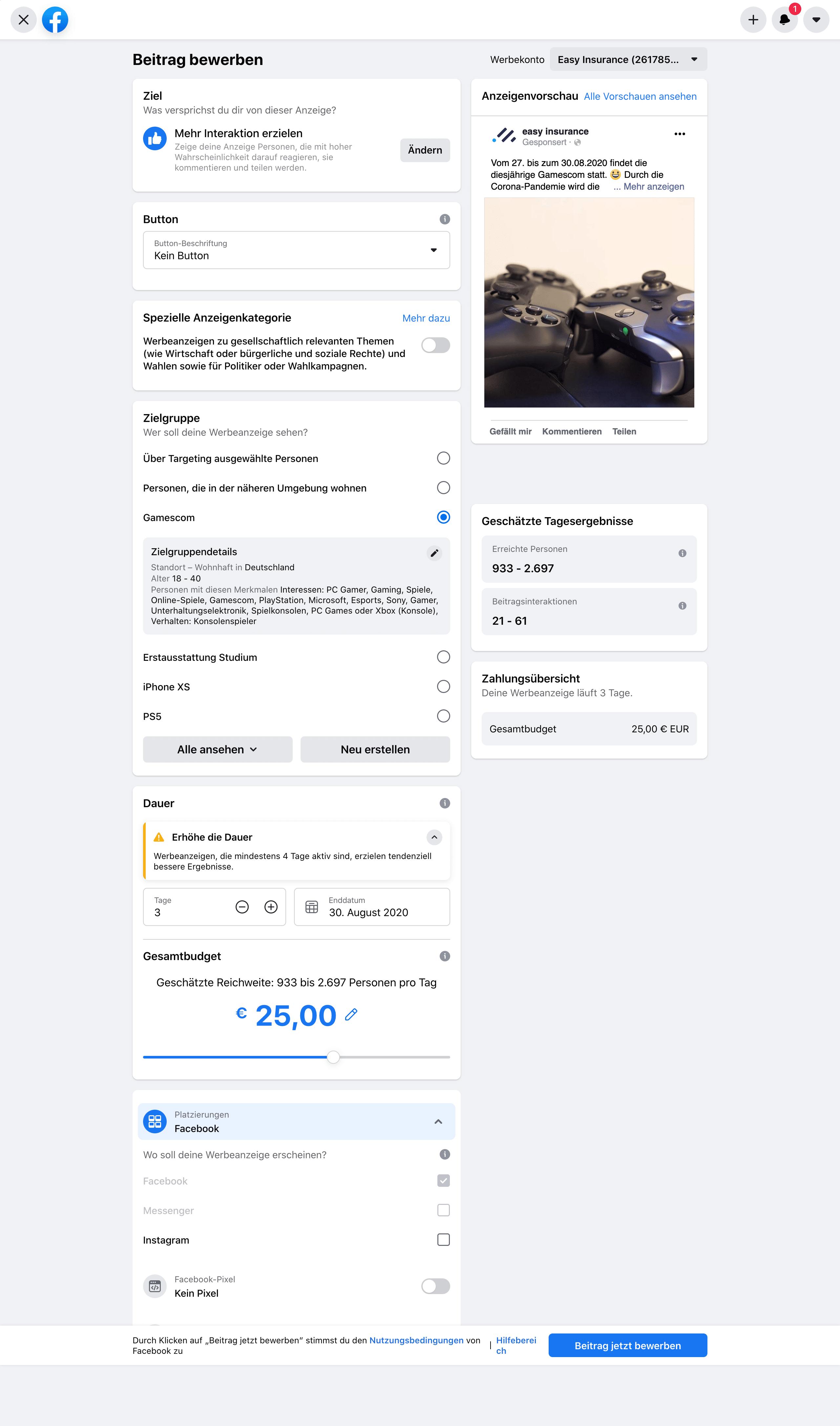Beispiel – Einstellungsmöglichkeiten zur Bewerbung eines Facebook Beitrags
