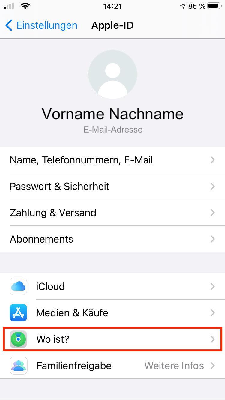 """Einstellungsbereich """"Apple-ID"""" – Find my iPhone"""
