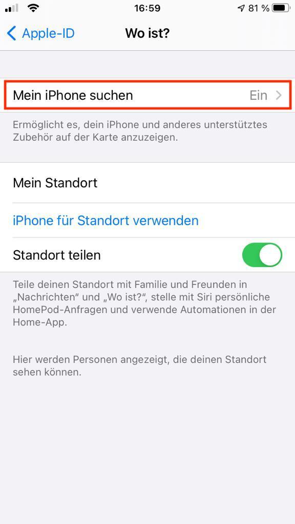 """Einstellungsbereich """"Wo ist?"""" – Find my iPhone"""