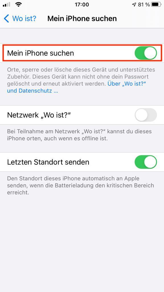 """Einstellungsbereich """"Mein iPhone suchen"""" – Find my iPhone"""