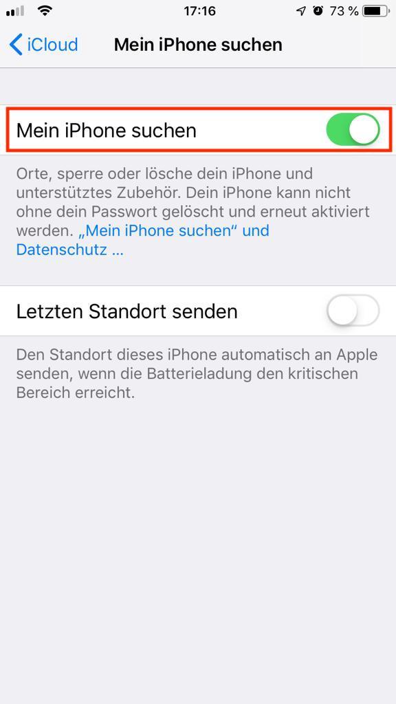 """""""Mein iPhone suchen"""" Einstellungsbereich"""